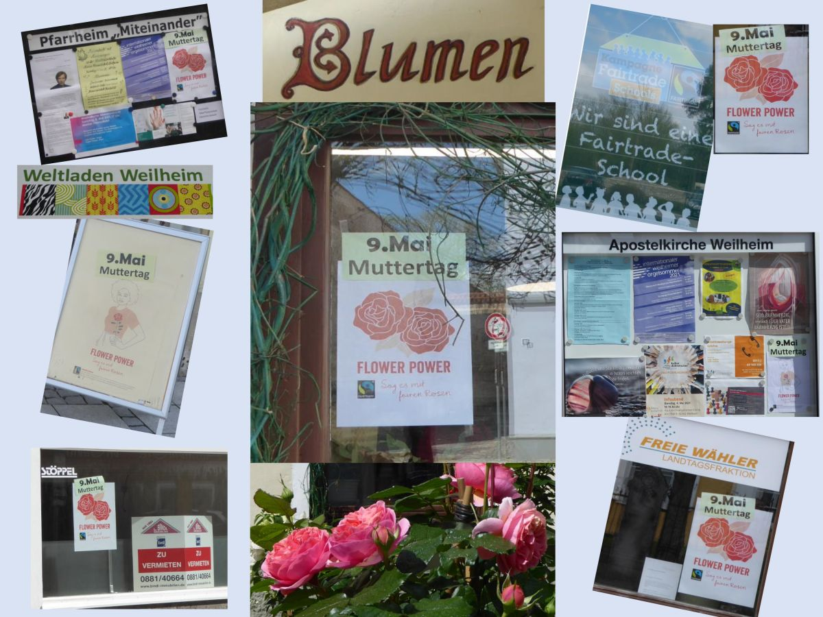 Kollage Fairtrade-Rosen-Plakate in der Stadt